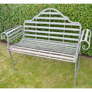 Rustic Grey Metal Garden Bench