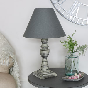 Rustic Grey Table Lamp
