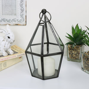 Rustic Grey Terrarium Candle Holder