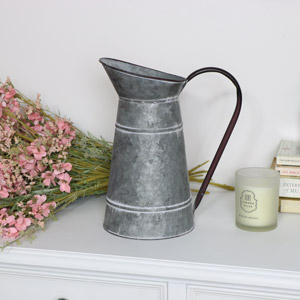 Rustic Grey Tin Jug