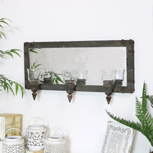 Rustic Grey Triple Candle Sconce with Mirror