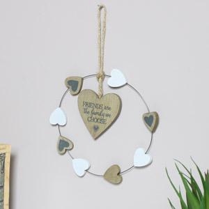 Rustic Hanging Heart Friend Plaque