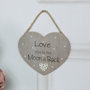 "Rustic Hanging Heart Plaque ""Love You to the Moon..."""
