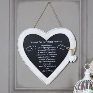"Rustic Hanging Heart Plaque ""Recipe for a Happy Family"""