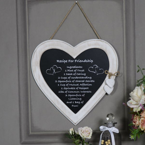 "Rustic Hanging Heart Plaque ""Recipe for Friendship"""