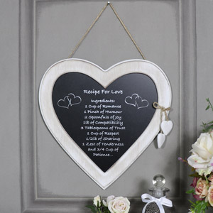 "Rustic Hanging Heart Plaque ""Recipe for Love"""