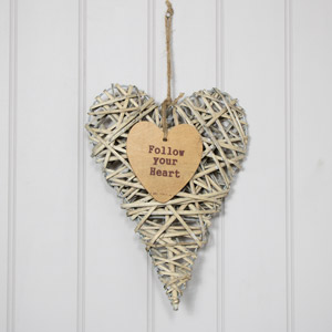 Rustic Hanging Wicker Heart - Follow Your Heart