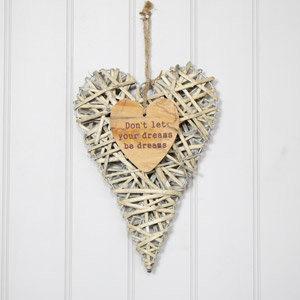 Rustic Hanging Wicker Heart