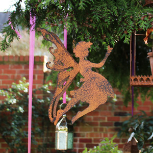 Rustic Metal Fairy Hanging Garden Decoration