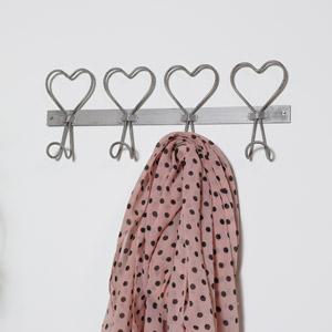 Rustic Metal Heart Coat Hooks