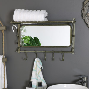 Rustic Metal Mirror with Shelf and Hooks