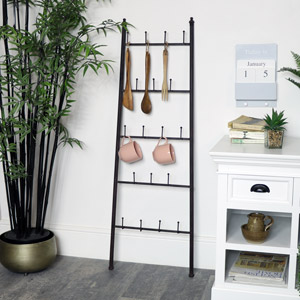 Rustic Metal Wall Ladder Hook Storage