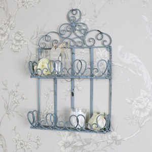 Rustic Blue Ornate Metal Wall Shelf