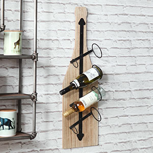 Rustic Wall Mounted Bottle Shaped Wine Rack