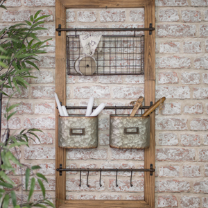 Rustic Wall Shelf with Baskets and Hooks