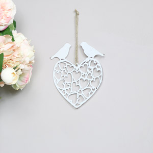 Rustic White Metal Hanging Heart