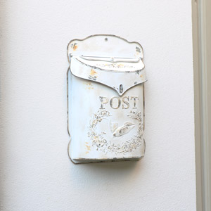Rustic White Metal Outdoor Post Box