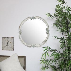 Rustic White Wall Mirror 68cm x 68cm