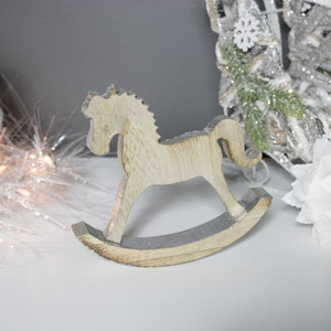 Rustic Wooden Christmas Rocking Horse Ornament