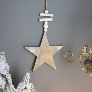 Rustic Wooden Hanging Christmas Star