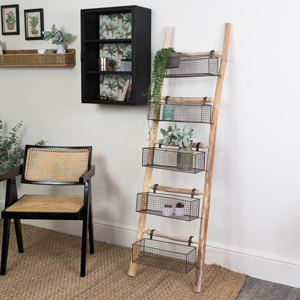 Rustic Wooden Ladder with 5 Wire Storage Baskets