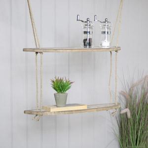 Rustic Wooden Rope Ladder Shelves