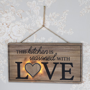Rustic Wooden Wall Mounted LED Love Plaque