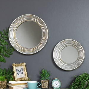 Set of 2 Antiqued Round Silver Wall Mirrors