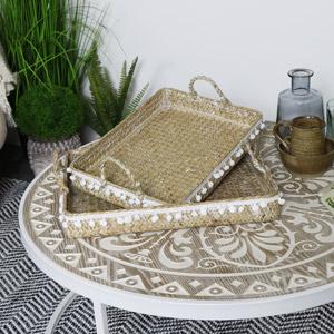 Set of 2 BoHo Woven Pom Pom Trays