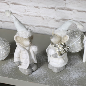 Set of 2 Christmas Mice Ornaments