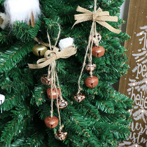 Set of 2 Copper Hanging Jingle Bell Tree Ornaments