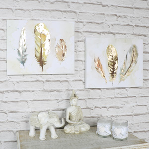Set of 2 Feather Watercolour Painting Canvas Wall Prints