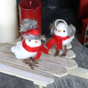 Set of 2 Fluffy Christmas Birds