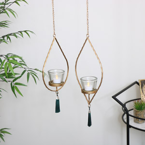 Set of 2 Gold Hanging Tealight Holder with Green Tassels