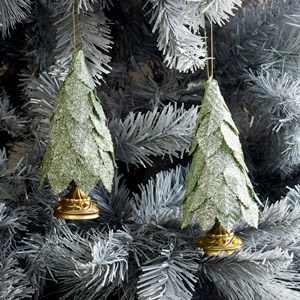 Set of 2 Green Glitter Christmas Tree Baubles