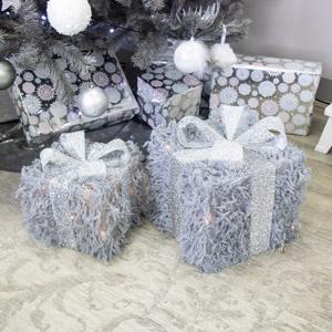 Set Of 2 Grey LED Presents