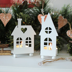 Set of 2 Christmas House Tealight Holders