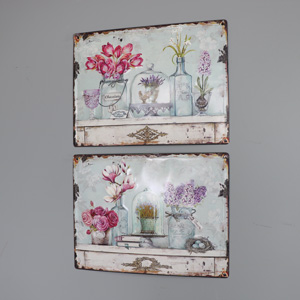 Set of 2 Vintage French Floral Wall Plaques