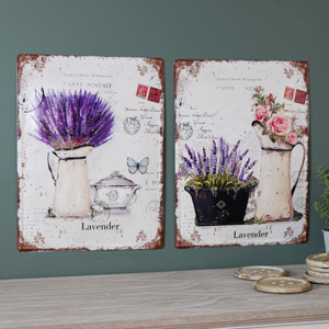 Set of 2 Large Metal Vintage French Lavender Wall Plaques