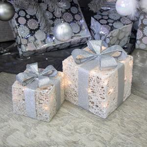 Set of 2 LED Light Up Christmas Presents