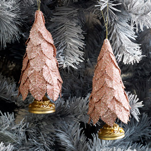 Set of 2 Pink Glitter Christmas Tree Baubles