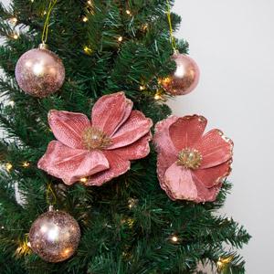 Set Of 2 Pink Velvet Flower Clips