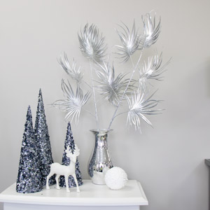 Set Of 2 Silver Palm Stems
