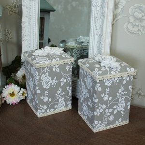 Set of 2 Pretty Floral Rose Fabric Trinket Box Storage Pots