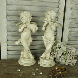 Set of 2 Standing Cherub Ornaments