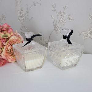 Set of 2 Vanilla Scented Candles in Ornate Cut Glass Candle Pots
