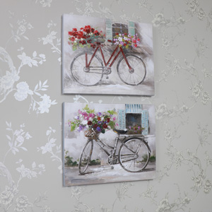 Set of 2 Vintage Bicycle Canvas Wall Prints