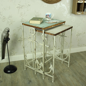 Set of 2 Wood/Metal Nautical Nested Tables