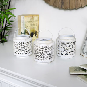 Set of 3 Antique White Candle Lanterns