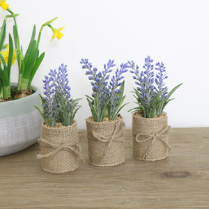 Set of 3 Artificial Purple Lavender in Hessian Pots